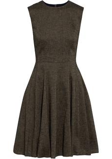 Theory Woman Flared Linen-blend Mini Dress Mushroom