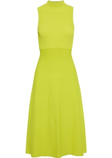 Theory Woman Fluted Ribbed And Stretch-knit Midi Dress Lime Green