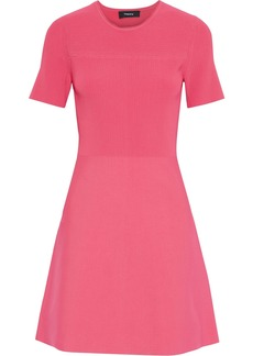 Theory Woman Fluted Ribbed And Stretch-knit Mini Dress Coral