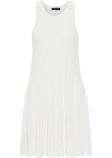 Theory Woman Fluted Ribbed-knit Mini Dress Off-white