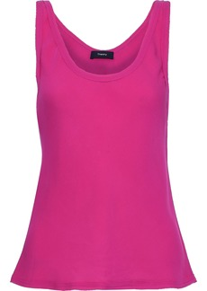 Theory Woman Silk-crepe Top Fuchsia