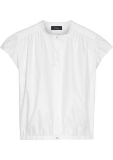 Theory Woman Gathered Cotton-poplin Shirt White