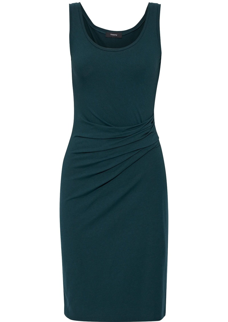Theory Woman Gathered Draped Jersey Dress Emerald