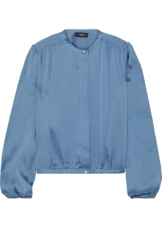 Theory Woman Gathered Silk-charmeuse Blouse Storm Blue