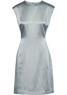 Theory Woman Hammered-satin Mini Dress Grey Green
