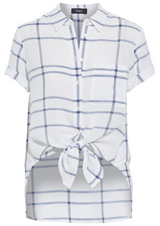 Theory Woman Hekanina Tie-front Checked Voile Shirt White