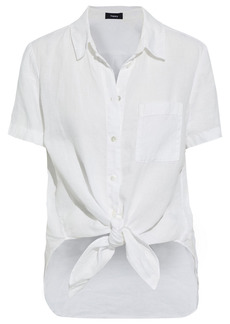 Theory Woman Knotted Linen Shirt White