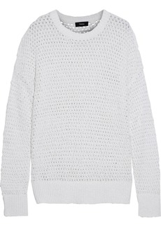 Theory Woman Karenia Open-knit Cotton-blend Sweater White