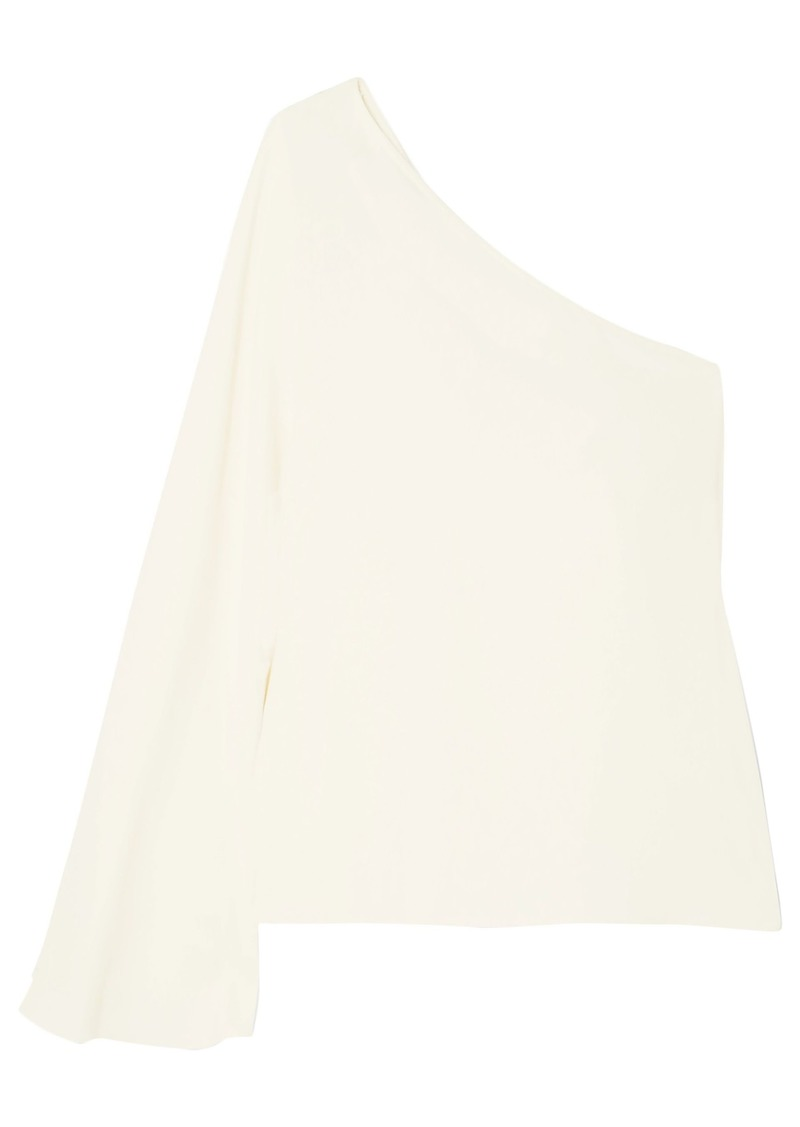 Theory Woman One-shoulder Satin-crepe Top Ivory