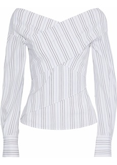 Theory Woman Layered Striped Stretch Cotton-poplin Top White