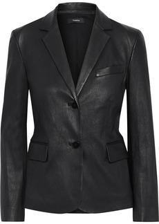 Theory Woman Leather Blazer Black