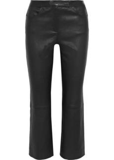 Theory Woman Leather Kick-flare Pants Black
