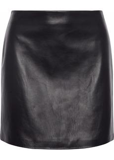 Theory Woman Leather Mini Skirt Black