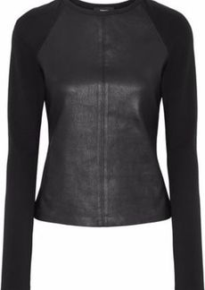 Theory Woman Leather-paneled Stretch-knit Top Black