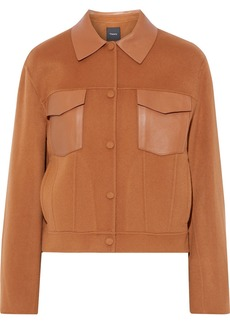 Theory Woman Leather-paneled Wool And Cashmere-blend Felt Jacket Tan