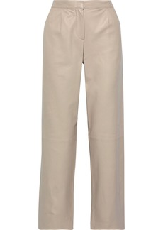 Theory Woman Leather Straight-leg Pants Neutral