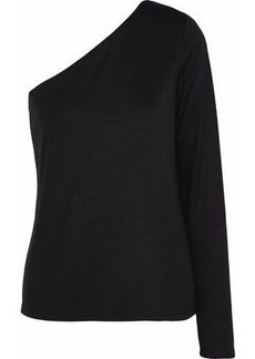 Theory Woman Left One-shoulder Stretch-jersey Top Black