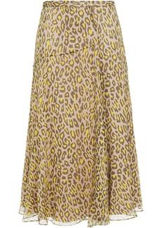 Theory Woman Leopard-print Silk-crepon Midi Skirt Taupe