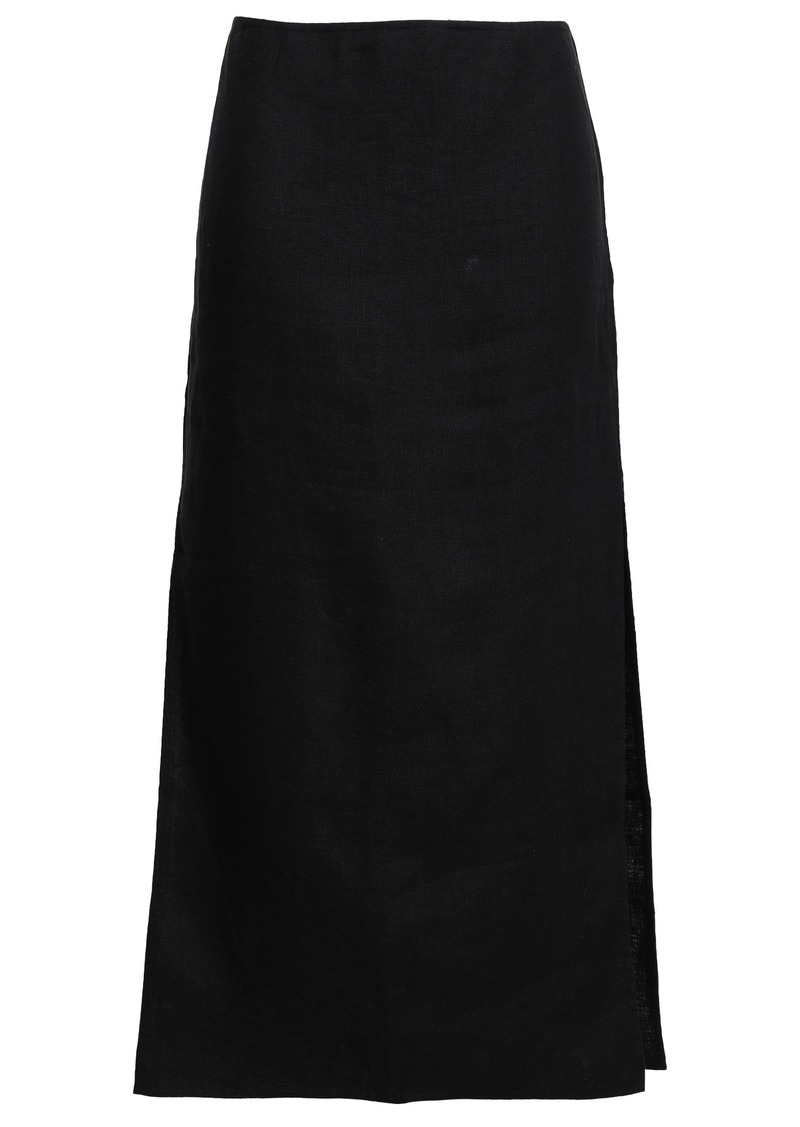 Theory Woman Linen And Cotton-blend Midi Skirt Black