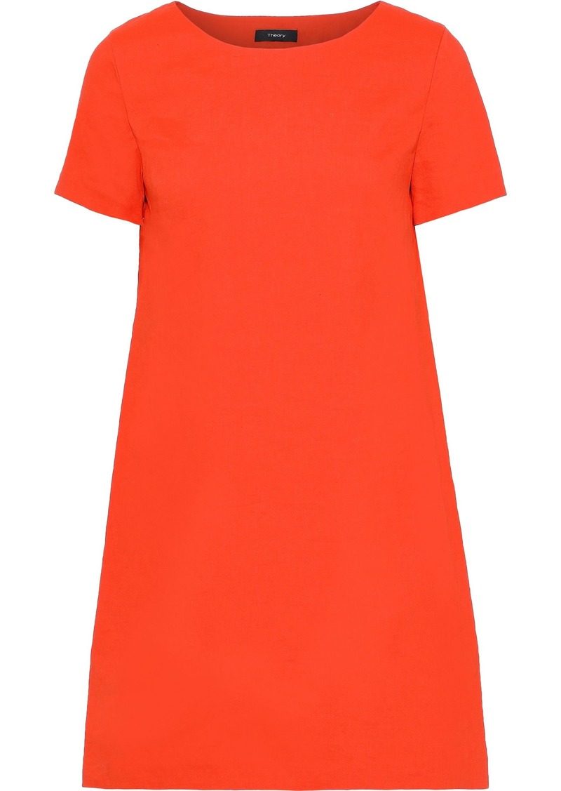 Theory Woman Crinkled Linen-blend Mini Dress Bright Orange