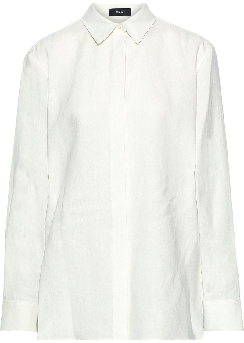 Theory Woman Linen Shirt White