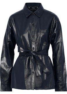 Theory Woman Lourah Leather Jacket Navy