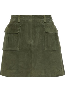 Theory Woman Lupah Suede Mini Skirt Army Green