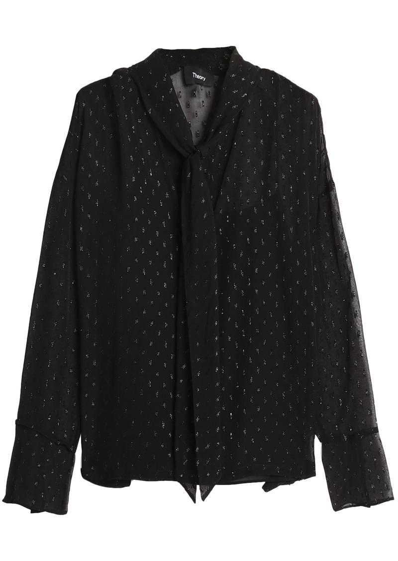 Theory Woman Metallic Fil Coupé Silk-blend Blouse Black