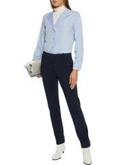 Theory Woman Mélange Jersey Slim-leg Pants Navy