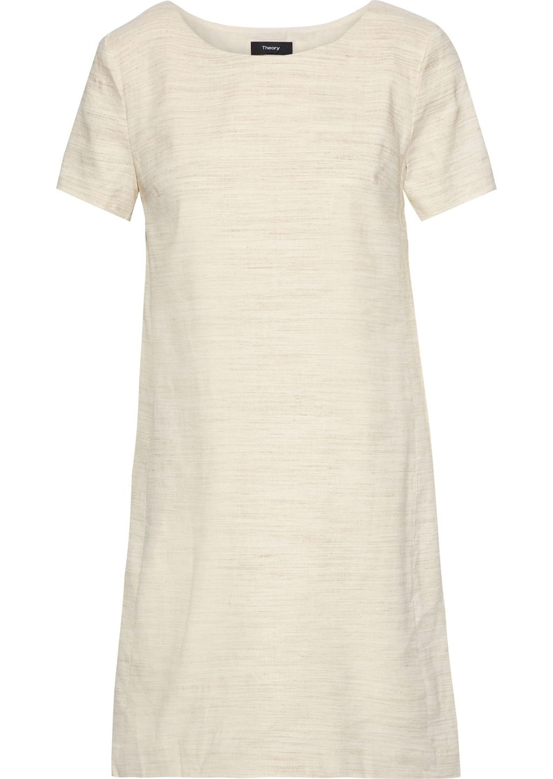 Theory Woman Mélange Linen-blend Mini Dress Neutral