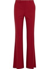 Theory Woman Wool-blend Crepe Flared Pants Burgundy