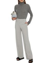 Theory Woman Mélange Wool-blend Wide-leg Pants Stone