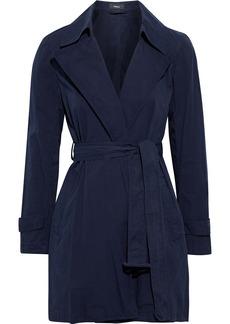 Theory Woman Oaklane Cotton-twill Trench Coat Navy