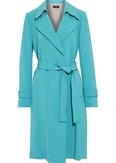 Theory Woman Belted Crepe Trench Coat Teal