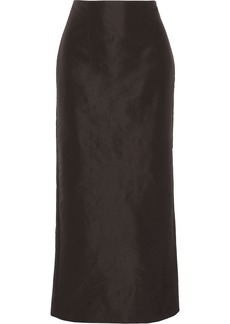 Theory Woman Obi Faille Midi Pencil Skirt Dark Brown