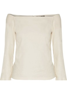 Theory Woman Off-the-shoulder Linen-blend Crepe Top Ecru