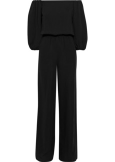 Theory Woman Off-the-shoulder Silk-crepe Jumpsuit Black