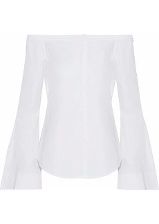 Theory Woman Off-the-shoulder Stretch-cotton Top White