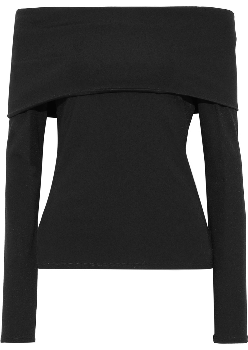 Theory Woman Off-the-shoulder Stretch-jersey Top Black