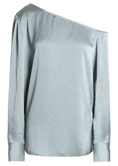 Theory Woman One-shoulder Crinkled-satin Blouse Sky Blue