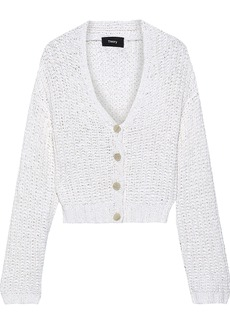 Theory Woman Open-knit Cotton-blend Cardigan White