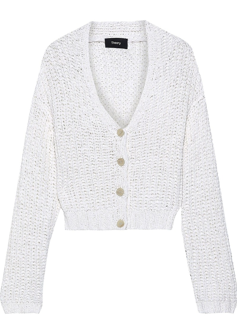 Theory Woman Open-knit Cotton-blend Cardigan White