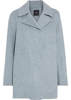 Theory Woman Overlay Wool And Cashmere-blend Felt Coat Gray