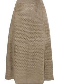 Theory Woman Perforated Suede Midi Skirt Taupe