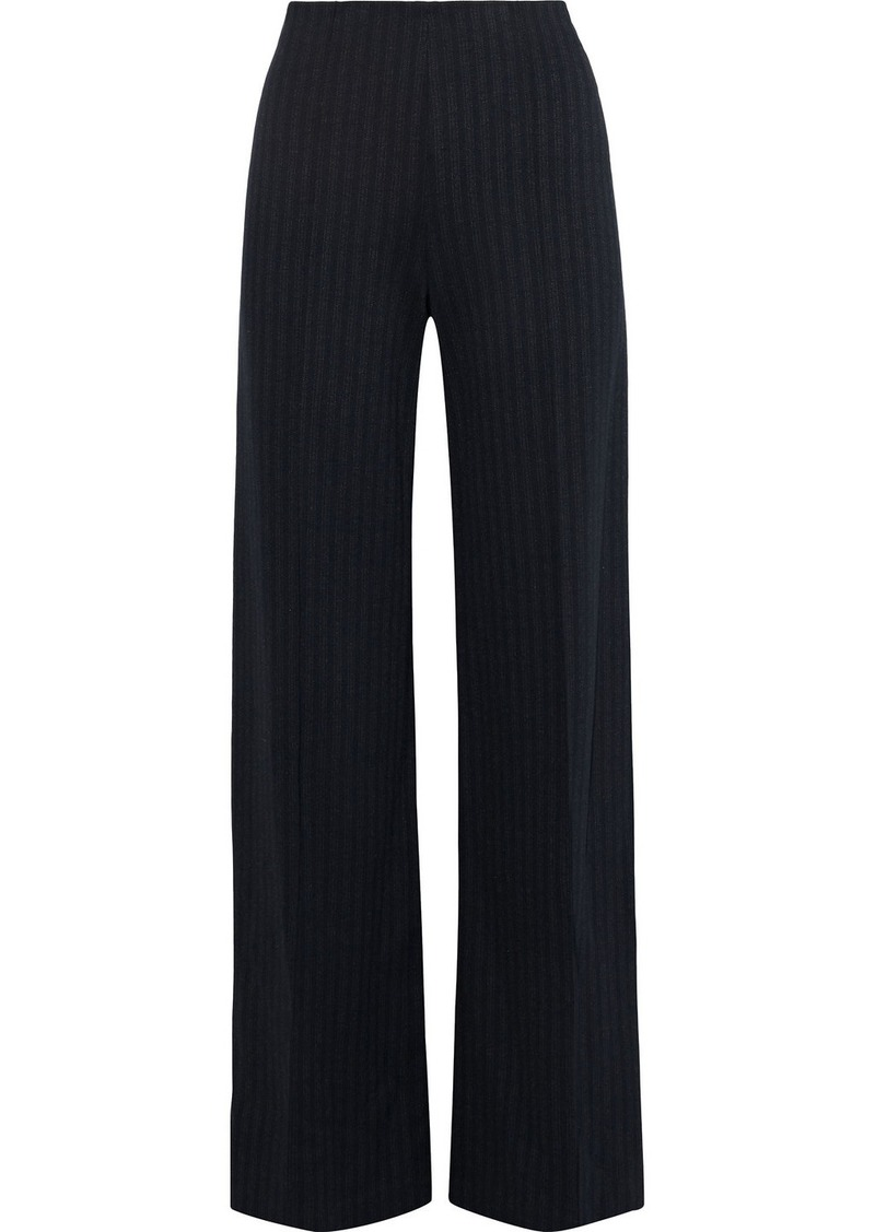 Theory Woman Pinstriped Stretch-knit Wide-leg Pants Navy
