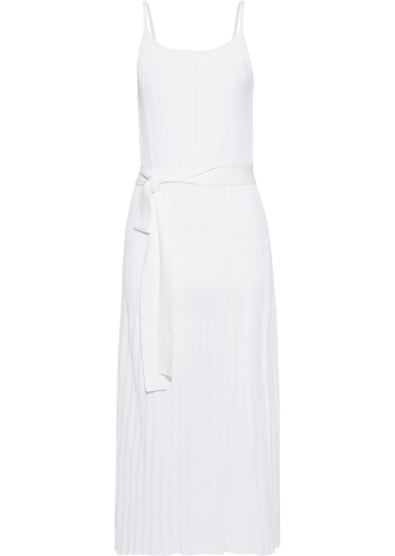 Theory Woman Pleated Cotton-blend Midi Dress Off-white