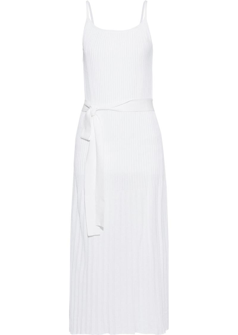 Theory Woman Pleated Cotton-blend Midi Dress Off-white