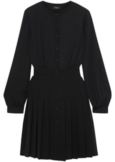 Theory Woman Pleated Crepe Mini Dress Black