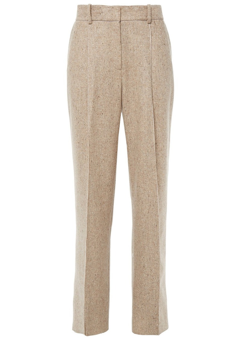 Theory Woman Pleated Donegal Wool-blend Wide-leg Pants Sand