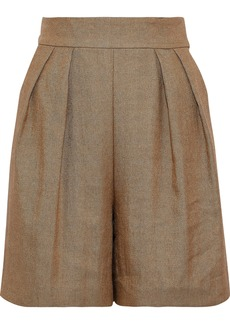 Theory Woman Pleated Twill Shorts Sand
